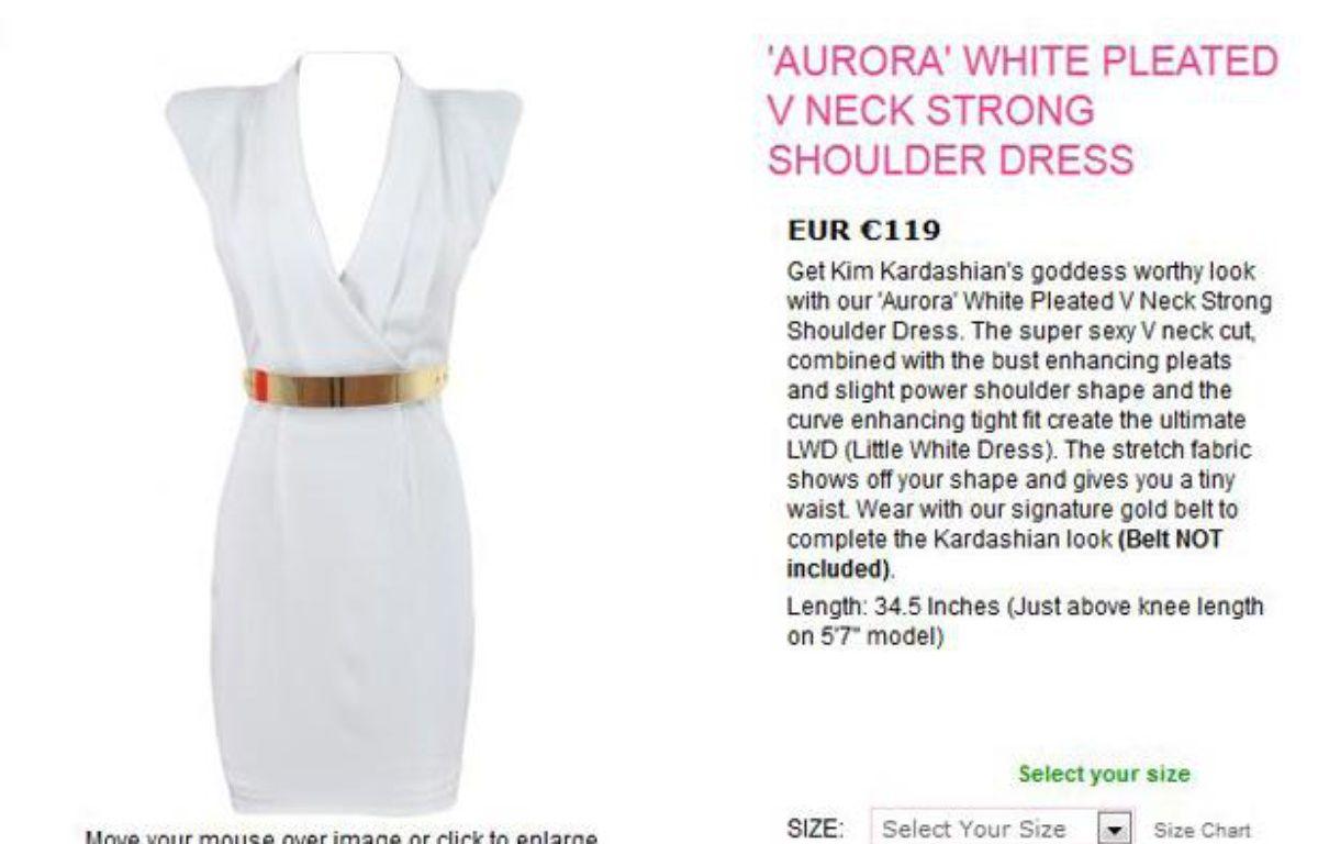 Capture d'écran du site celebboutique.com, qui a créé la polémique en profitant de la tuerie d'Aurora pour faire la publicité de cette robe. – 20 MINUTES