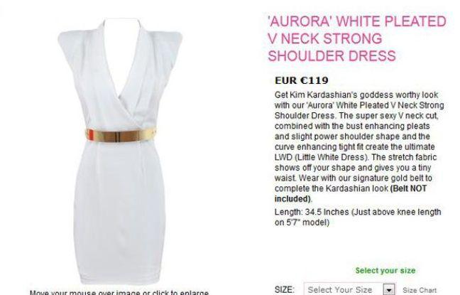 Capture d'écran du site celebboutique.com, qui a créé la polémique en profitant de la tuerie d'Aurora pour faire la publicité de cette robe.