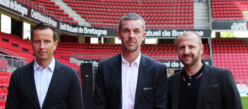 L'entraîneur Julien Stéphan, le président du Stade Rennais Nicolas Holveck, et le directeur technique Florian Maurice ici au Rozahon Park, le 22 juin 2020.