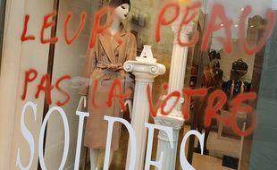 Une boutique vandalisée par des militants antispécistes.