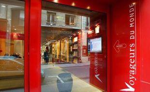 L'agence Voyageurs du Monde à Paris, spécialisée dans les voyages à la carte et dirigée par Jean-François Rial, le 14 octobre 2002