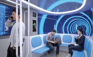 Une vue d'artiste de l'intérieur des rames sur la ligne de métro Toulouse Aerospace Express