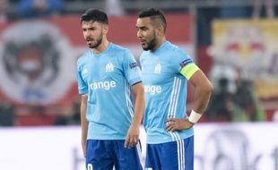 Sanson et Payet lors du match de l'OM à Salzbourg en demi-finale retour de Ligue Europa, le 2 mai 2018.