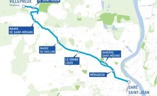 Tracé provisoire du futur BHNS entre Bordeaux et Saint-Aubin-de-Médoc