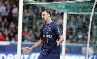 L'attaquant du PSGZlatan Ibrahimovic contre Nancy, le 9 mars 2013, au Parc des Princes.
