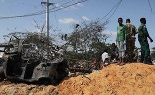 Le lieu de l'attentat à Mogadiscio le 28 décembre 2019.