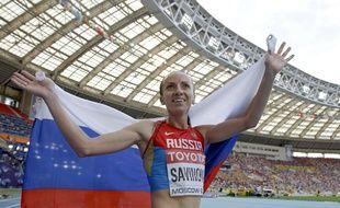 La spécialiste russe du 800m, Mariya Savinova, lors des championnats du monde de Moscou, le 18 août 2013.