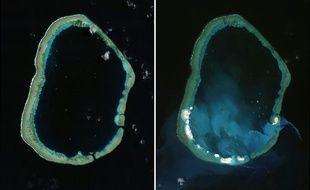 A gauche, une image satellite du site de Mischief Reef prise le 24 janvier 2012. A droite, une autre prise le 16 mars 2015. On voit clairement l'apparition d'îles sur la barrière de corail.