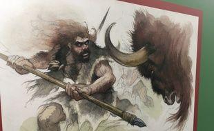 Une illustration d'Emmanuel Roudier, à découvrir à l'exposition Néandertal à Pierresvives.