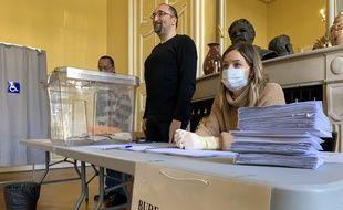 Elections municipales 2020.Illustration. Dans un bureau de vote au temps du coronavirus. Strasbourg le 15 mars 2020.