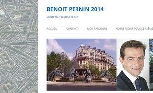 Capture d'écran du site de Benoît Pernin, qui se présente dans le 12e arrondissement de Paris.