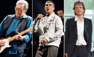 Eric Clapton, Ian Brown des Stone Roses, et Mick Jagger.