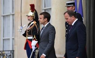 Emmanuel Macron et le Premier ministre suédois social-démocrate Stefan Löfven à l'Elysée.