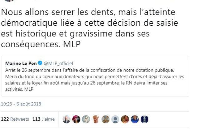 Le tweet de Marine Le Pen concernant la saisie des 2 millions d'euros d'aide publique de son parti