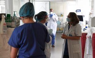 Illustration de soignants ici à l'hôpital Ambroise Paré, à Boulogne-Billancourt, le 8 mars 2021.