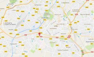 Le lieu de l'accident, à Lille.