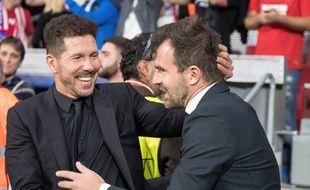 Ivan Leko et Diego Simeone lors d'une rencontre de Ligue des champions entre l'Atletico Madrid et le FC Bruges.