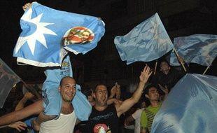 Supporters de Saad Hariri, dont le parti est l'un des vainqueurs des législatives au Liban du 7 juin 2009.