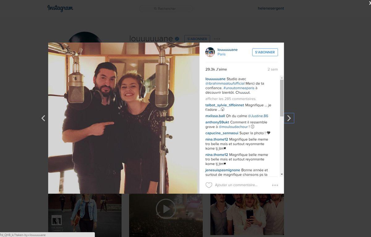 Capture d'écran de la photo publiée par Louane sur son compte Instagram. – DR
