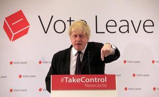 L'ancien maire de Londres Boris Johnson, lors d'un meeting Vote Leave à Newcastle, le 16 avril 2016.