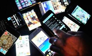 Des smartphones, le 25 décembre 2013 à Dinan (France)