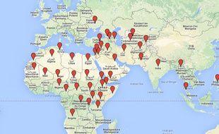La carte des pays dans lesquels des zones dangereuses doivent être évitées.
