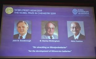 John B. Goodenough, Stanley Whittingham et Akira Yoshino, Prix Nobel de chimie 2019.