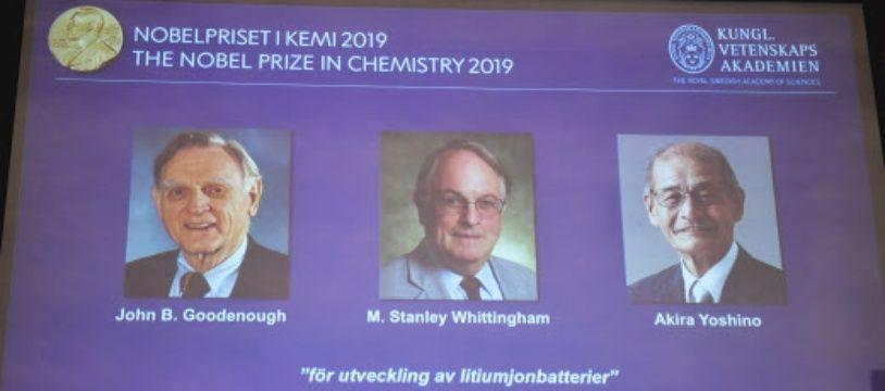 John B. Goodenough, Stanley Whittingham et Akira Yoshino, Prix Nobel de chimie 2019.