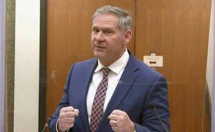 Steve Schleicher, l'un des avocats de l'équipe du procureur au procès de Derek Chauvin, jugé pour le meurtre de George Floyd, le 13 avril 2021.