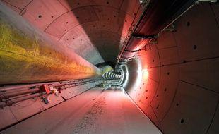 Le tunnel creusé par le tunnelier Elaine et qui accueillera la ligne B du métro à Rennes. Ici le 30 mars 2016 près de la station Cleunay.