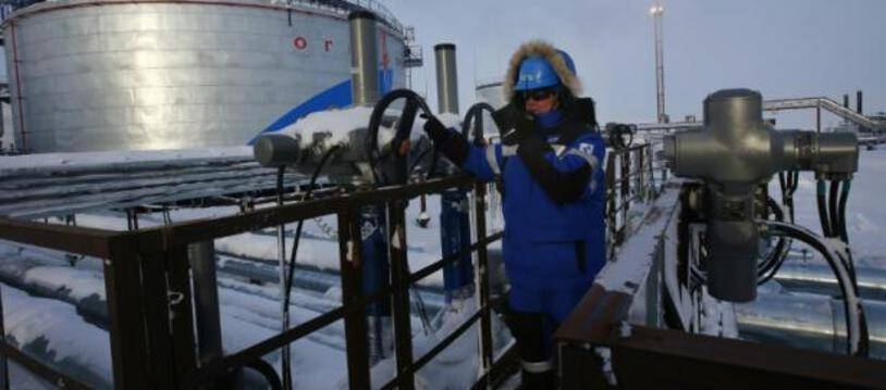 Installations du géant pétrolier russe Gazprom,  à Cap Kamenny dans le nord de la Russie, le 18 février 2015