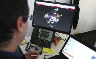 Illustration. Salle de supervision et de pilotage de la cybersécurité dans les locaux de la société Steria.Colomiers, FRANCE-12/03/14