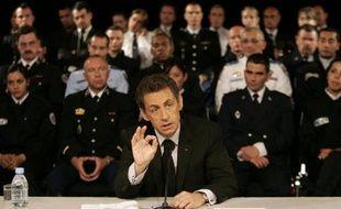 Nicolas Sarkozy en déplacement à Nice sur le thème de l'insécurité le 21 avril 2009.