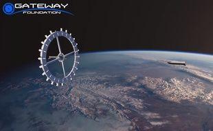 Capture d'écran d'une simulation 3D de ce à quoi pourrait ressembler la station spatiale qui serait créée par la Gateway Foundation en 2025