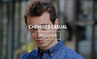 Hugo Clément fait un shooting pour une marque de chemises haut de gamme