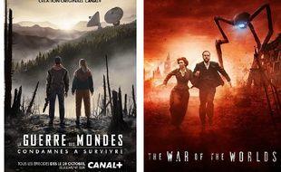 Montage des affiches des deux séries «La Guerre des mondes» à venir sur Canal + et la BBC