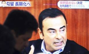 Des images de Carlos Ghosn à la télévision japonaise avant sa détention.