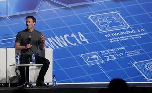 Mark Zuckerberg au Congrès mondial de la téléphonie mobile de Barcelone, le 24 février 2014.