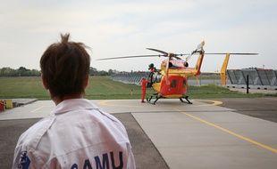 Illustration. Hélicoptère de la Sécurité civile et paramédicalisé du Bas-Rhin. Strasbourg le 30 08 2017.