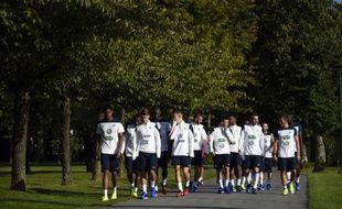 Les joueurs de l'équipe de France en rassemblement à Clairefontaine, le 1er septembre 2014.