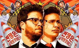 """Seth Rogen et James Franco, sur l'affiche du film """"The Interview""""."""