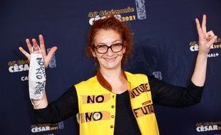 L'actrice Corinne Masiero à son arrivée à la cérémonie des César le 12 mars 2021