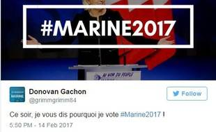 Le hashtage MarineLePen2017 s'est imposé en très peu de temps sur Twitter