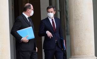 Jean Castex et Olivier Véran, le 3 mars 2021 à l'Elysée.