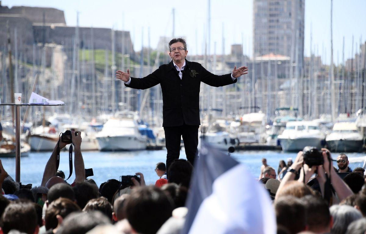 Jean-Luc Mélenchon lors de son meeting au Vieux-Port le 9 avril 2017 – Anne-Christine POUJOULAT