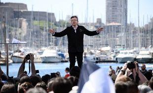 Jean-Luc Mélenchon lors de son meeting au Vieux-Port le 9 avril 2017