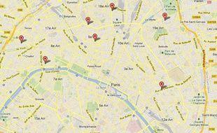 La carte des «serial killers» parisiens, réalisée le 28 mars 2013. Capture d'écran Google Maps.