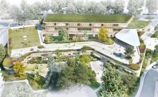 Vue d'architecte de la future école du quartier Maurepas, à Rennes.
