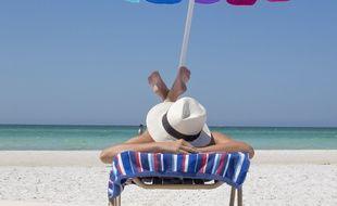 Illustration d'une personne bronzant au soleil, sous un parasol.