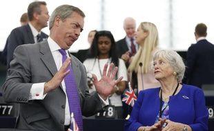 Les députés européens Nigel Farage et Ann Widdecombe au Parlement, le 2 juillet 2019.